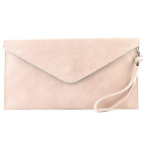 modamoda de - ital. Ledertasche Clutch Unterarmtasche Abendtasche Citytasche Wildleder T106 , Präzise Farbe:Rosabeige2
