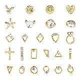 PandaHall 50 stücke 25 Stil Goldene Kristalle Nail Art Strass Charms Edelsteine Edelsteine Steine Nail Art Dekoration Handwerk Jewelry5 Farben