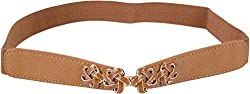 SRI Women's Causal Party Wear Elastic Cinch Belt (Brown)