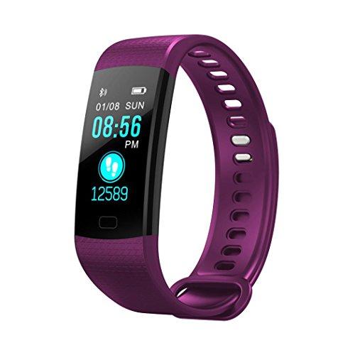 relojes deportivos, Pulsera Actividad Pulsera Inteligente Impermeable con Monitor de Sueño y Calorías, Podómetro, Pulsera Bluetooth Compatible con iOS y Android, Soporte SMS, WhatsApp, Facebook (morado)