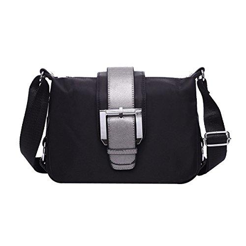 Damen Nylon Freizeit Wasserdicht All-Match Mode Licht Geneigter Schulterbeutel Taschen Black
