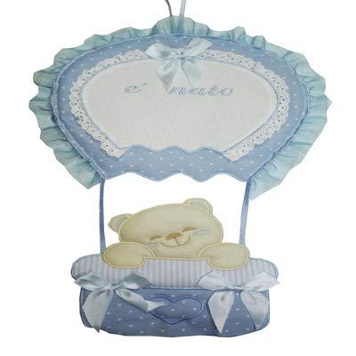 Fiocco nascita coccarda mongolfiera con tela aida da ricamare il nome del bebe' azzurro lavorato del tutto a mano