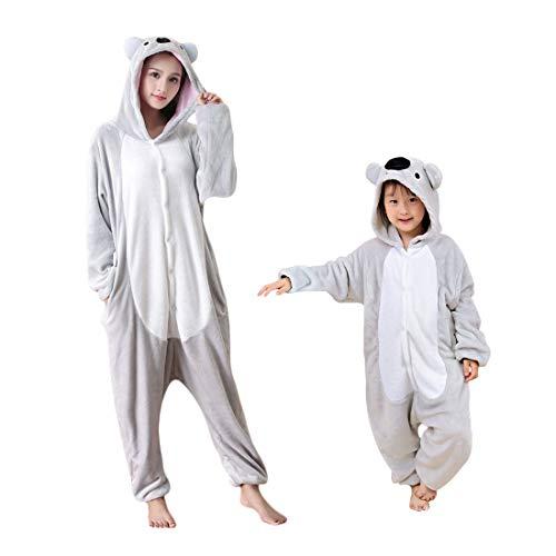 DEBAIJIA Adulto Unisex Pijamas Animal Ropa de Dormir Novedad Cosplay Carnaval Halloween y Navidad Disfraces Pijama para Niños Juguetes y Juegos Koala Gris de Dibujos Animados de Franela - 135