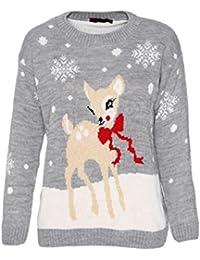Enfants Filles Bambi Cerf Boucle Noël Tricot Âge 3-9 Ans