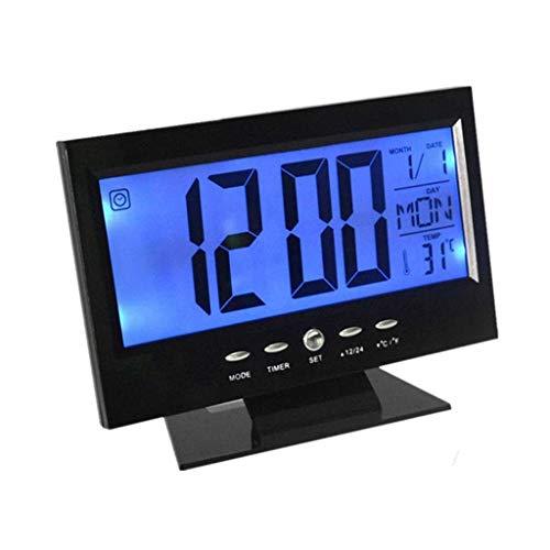 Mjd Reloj de la Tercera Edad Calendario Reloj y Alarma Escritorio electrónica Digital LCD de Reloj del Monitor del Reloj termómetro higrómetro pronóstico del Tiempo del Reloj de Tabla (Color : Black)