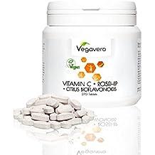Vitamin C 1.000mg + Hagebuttenextrakt Vegavero | 270 Tabletten | Hochdosiert | Vegan ohne künstliche Aromen und Gelatine