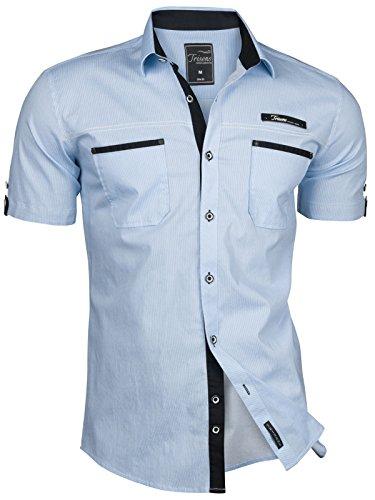 Trisens Herren Hemd Kurzarm GESTREIFT Slim FIT Sommer Baumwolle Polo Style Cotton, Farbe:Hellblau, Größe:XL