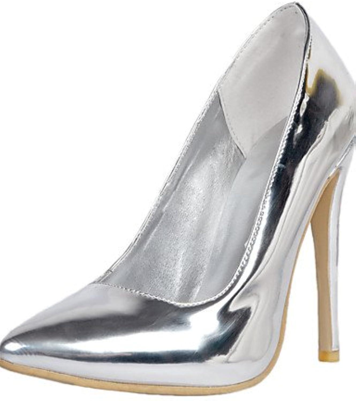 ZQ Zapatos de mujer-Tac¨®n Stiletto-Tacones / Puntiagudos-Tacones-Boda / Fiesta y Noche-Cuero Patentado-Plata...