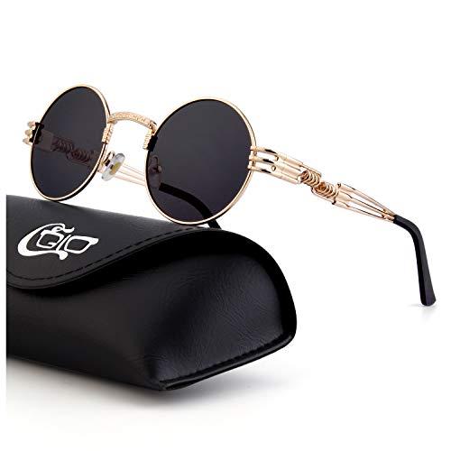 CGID Retro Sonnenbrille im Steampunk Stil, runder Metallrahmen, polarisiert, für Frauen und Männer, ()