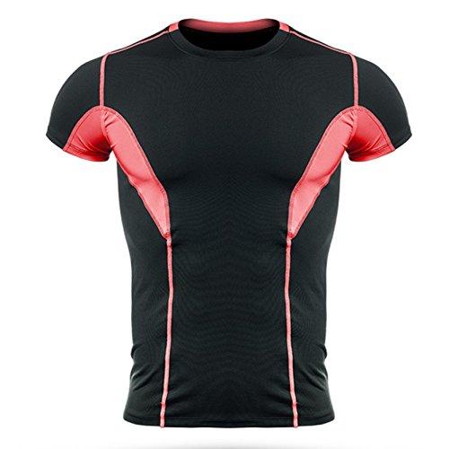 Jiayiqi Männer Sport T-Shirt Kontrast Farbe Mesh T-Shirt Atmungsaktiv L-4XL Rot