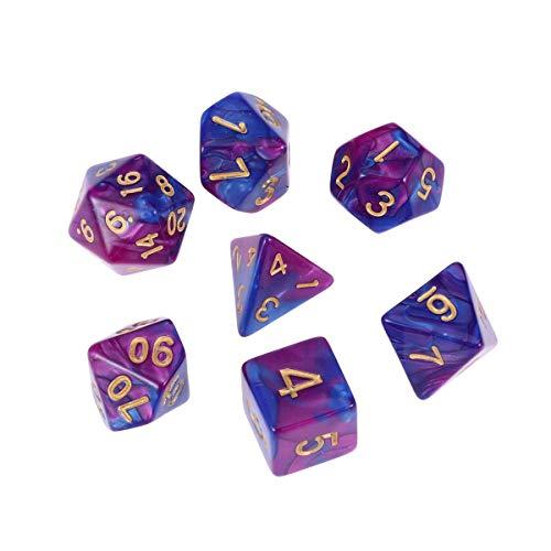 NUOBESTY 7 stücke Würfel Set Polyhedral Spiel Würfel Würfel Rollenspiele Würfel Dungeons and Dragons RPG MTG Tischspiel Spielen (Lila und Blau) (Polyedrische Benutzerdefinierte Würfel)