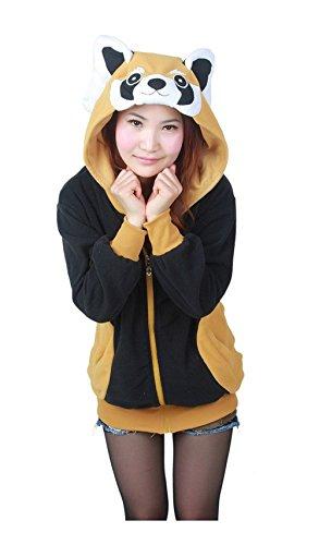 Kenmont Tier Hoodie Jacke Pullover Sweatshirt Jumpsuit Einhorn Pyjama Party Cosplay Kostüm für Kinder/Erwachsene (XL (175cm-185cm), - Niedliche Waschbär Kostüm