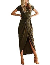 Donna Vestiti Lunghi Eleganti Estivi Ragazza Vestito Irregolare Rotondo  Collo Puro Colore Orlare Spacco Con Cintura Abito Maxi Casual… 4b2d386518b