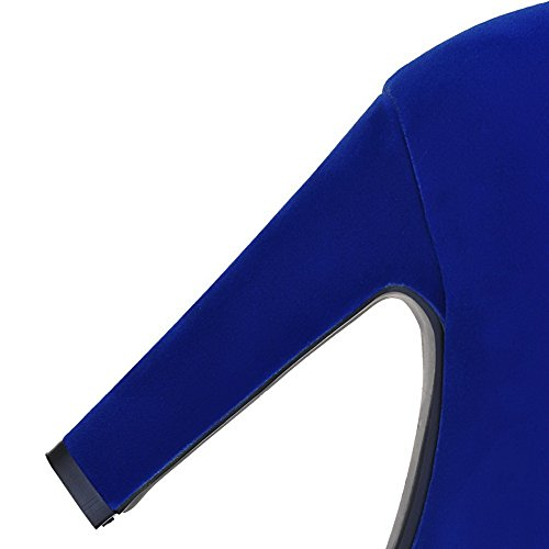 AllhqFashion Femme Dépolissement Haut Élevé Couleur Unie Zip à Talon Haut Bottes Bleu