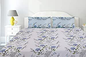 haus & kinder Victorian Summer Dream, 100% Cotton, 186 Thread Count Double Bedsheet with 2 Pillow Covers (White Blue: Blue)
