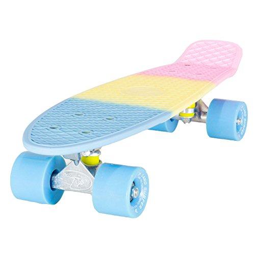 LAND SURFER® Retro Cruiser, komplettes Skateboard mit dreifarbig gemustertem - Farbige Achsen 56-cm-Deck - ABEC-7-Kugellager - PU-Räder (59 mm) + Tragetasche -Pastell 3-Farbton / Blau Räder