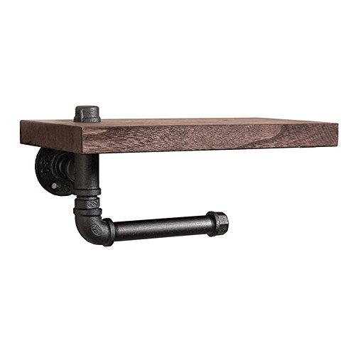 Garage Storage-base (YANXH Toliet Rollenhalter Retro ländlichen Stil Wand montiert Eisen Wasser Rohr Regal mit Holzbrett Bad Zubehör)