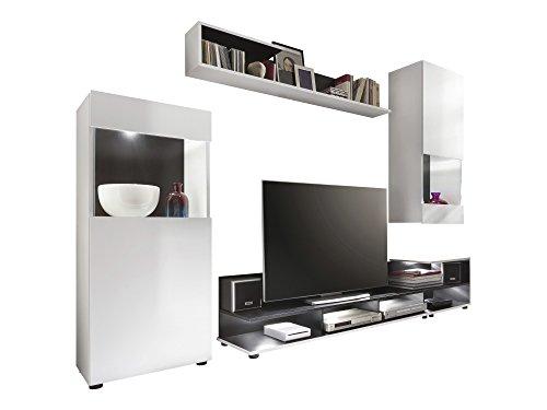 trendteam TT16 Wohnwand Wohnkombination Wohnzimmerschrank| Weiß matt | 255 x 178 cm