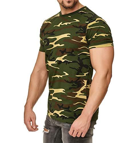 Happy Clothing Herren Camouflage T-Shirt Army Military Bundeswehr Tarnfarben Grün, Größe:3XL, Farbe:Camouflage -