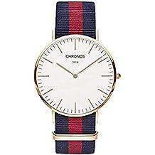 Hermosa Pulsera Watches Reloj Correa de Nylon Tejido con Dos Agujas Ultra Thin