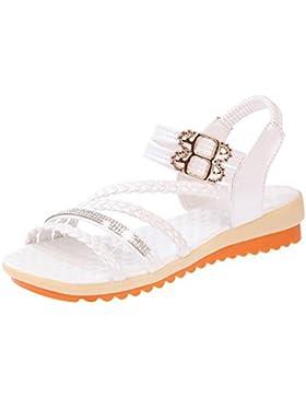 Verano sandalias abiertas femenina piso de estudiantes de tacón bajo palabra cingulado zapatos de suela blanda...