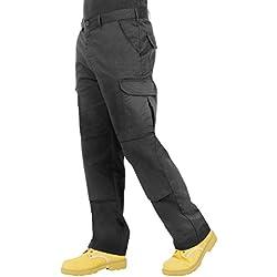 Proluxe Endurance pour Homme Cargo Combat Pantalon de Travail avec Poches genouilleres et Coutures renforcees, Noir, 40 (30T)