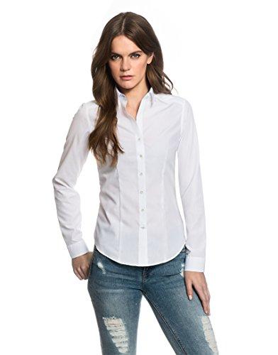 EMBRÆR Damen Bluse Tailliert 100% Baumwolle Bügelfrei mit Kontrasteinlage Langarm Hemdbluse Elegant Festlich Kent-Kragen Auch für Business und Unter Pullover Weiß 42 (Aus Seide Rüschen-kragen-bluse)