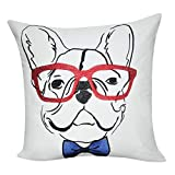 Loom und Mühle p0177–2121P 53,3x 53,3cm weiß Französische Bulldogge Dekoratives Kissen