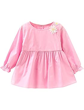 ESHOO Baby Kleid Kleine Mädchen Baumwolle Flowear Gedrucktes Langarm Prinzessin Kleid