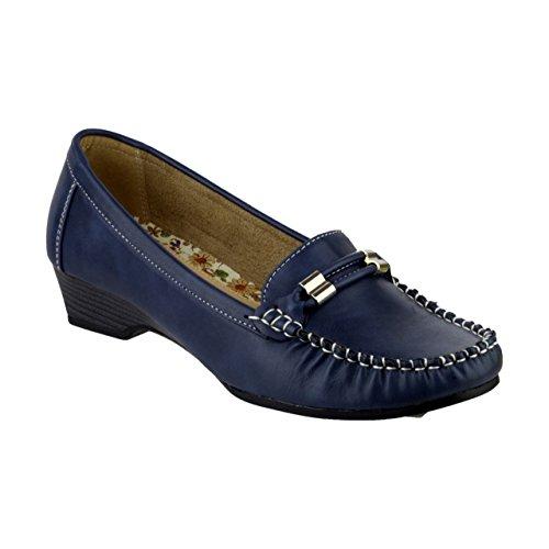 Amblers Ladies Casual Slip On Moccasin Style Shoe Navy Beige