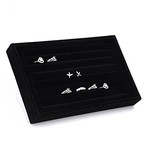 Yosoo Aufbewahrungsbox / Schmucktablett, Innenbezug aus Wildleder, mit passenden Schlitzen für Ohrringe, Ringe und Manschettenknöpfe