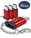 JSAUX USB C Adapter auf Micro USB, [4 Pack] USB Typ C Konverter mit Keychain 56K Widerstand für Samsung Galaxy S10 S9 S8 Plus/Note 10 9 8/A3 A5 2017, Huawei P9/P10, Xperia XZ, LG G5 G6 usw - (Rot)