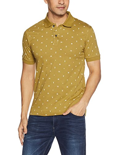 Symbol Men's All Over Printed Polo T-Shirt (AW17PLK115_XXL_Ecru Olive)