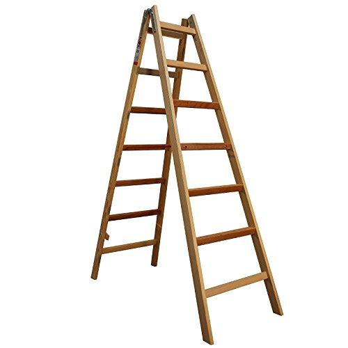 Bockleiter Massivholz 2x7 Stufen 48AW207