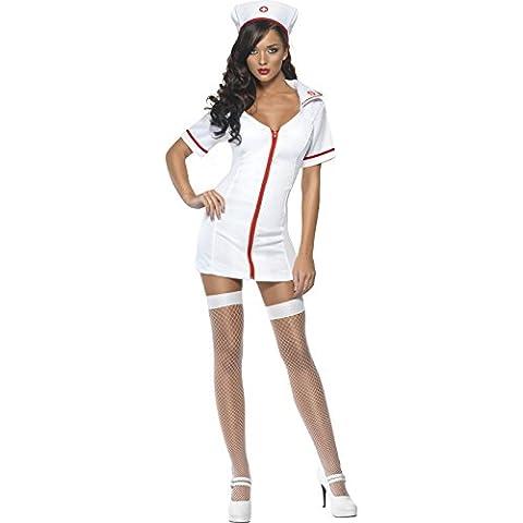 Fever, Damen Schwester Kostüm, Kleid und Haube, Größe: S, 22016 (Smiffys Fever Kostüme)