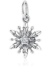 c31d88b1f6b7 Wostu delicado copo de nieve plata de ley Dangle Charms ajuste cadena de  serpiente pulseras