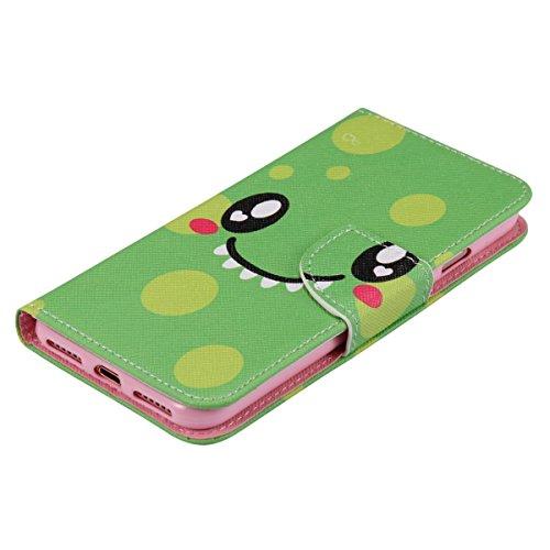 Custodia a portafoglio per iPhone 7/8 Pink Dandelion Cute Smile - Green