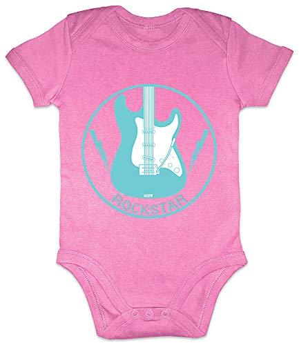 arm Born To Be A Rock Star Baby Berufe Hobbies Sprüche mit Spruch Handwerker Geburtstag Plus Geschenkkarte Bubblegum Pink 3-6 Monate ()