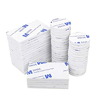 Double Sided Foam Pads, 50 Pcs Double Adhesive Foam Pads Strong Mounting Tape, White Round and Rectangle
