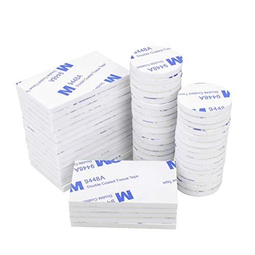 Doppelseitige Schaumstoff-Pads, 50 Stück, doppelseitig, selbstklebend, starkes Montageklebeband, weiß, rund und rechteckig -