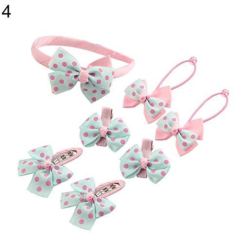 d süße Haarspange für Kinder, Mädchen, elegant, große Schleife, Haarspangen, Kreolen, Ringe, Krawatten-Set ()