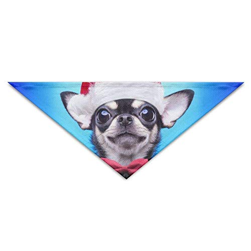 Gxdchfj Pet Scarf, A Little Dog with A Christmas Hat Triangle Pet Scarf Dog Bandana Pet Collars for Dog Cat - - Hausgemachte Weihnachten Kostüm