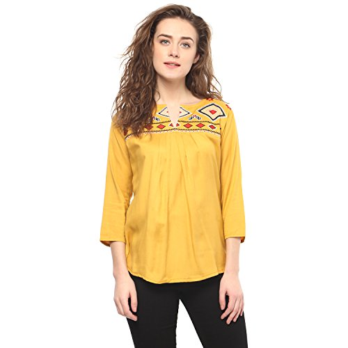 Mayra Women's Plain Regular Fit Top (1801T11423!_Yellow!_Large)