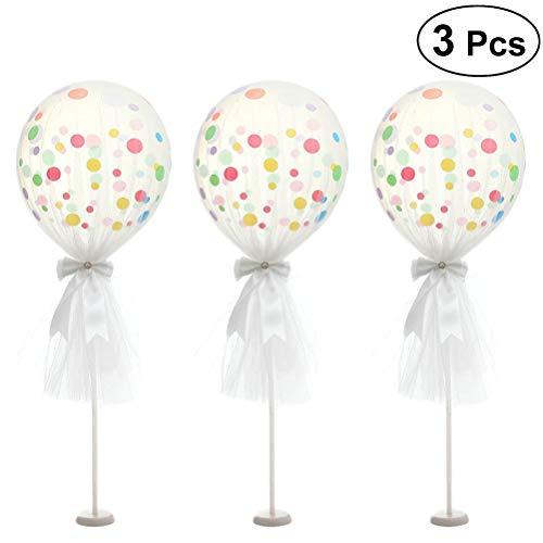 TOYMYTOY 3 Satz Latex Ballons Party Ballon 12 Zoll Polka Dots Luftballons mit Ständer und Tüll für Party Hochzeit Geburtstag Feier (weiß)