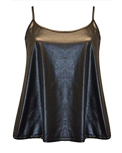 STYLE Damen Top, Animalprint Gr. XX-Large, Schwarz - Black-Wet Look (Neck Scoop Top Deep)