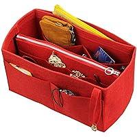 [Convient Neverfull MM/Speedy 30, Red] Organisateur de feutre (w/Zipper sac détachable), fourre-tout sac à main feutre Insert, sac à cosmétiques maquillage à couches, poche Zongongs poche