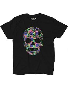 Camiseta hombre calavera Creación Fashion mexicano Dibujo Diseño dientes kiarenzafd Streetwear Shirts, Black Opal