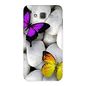 Impressive Butterflies white stones Back Case Cover for Galaxy J7