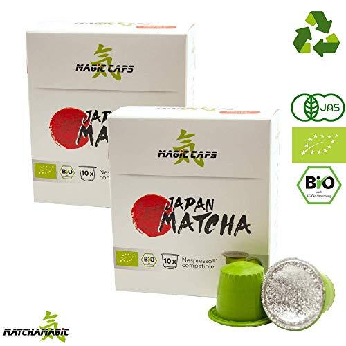 MatchaMagic Matcha Caps | Nespresso®-kompatible Caps mit Premium Bio Matcha Pulver | Original Grüntee aus Japan | 100{3fc3079b3a1de69516b9d318d49c1986e5dc0f0d80d6d952cd677d97195791a5} Bio | recyclebarer Kunststoff | 2x10 Matcha Kapseln Nespresso kompatibel á 1,5g