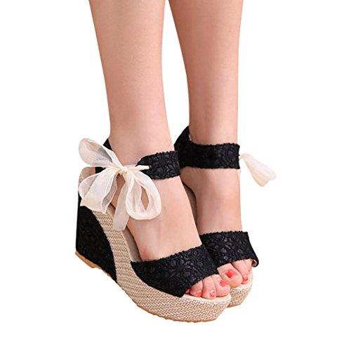 Sandalias y Chancletas de Tacón Alto Plataforma para Mujer, QinMM Playa Zapatos de Verano (39, Negro)